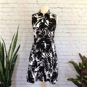 Talbots Black and White Botanical Leaf Dress